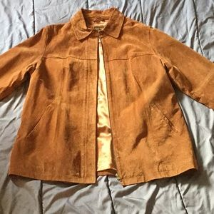 AMI Large 100% Brown Leather Coat with Zipper